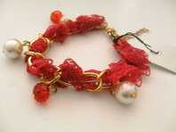 Fabric and chain charm bracelet, choice of colour (Code 0508)